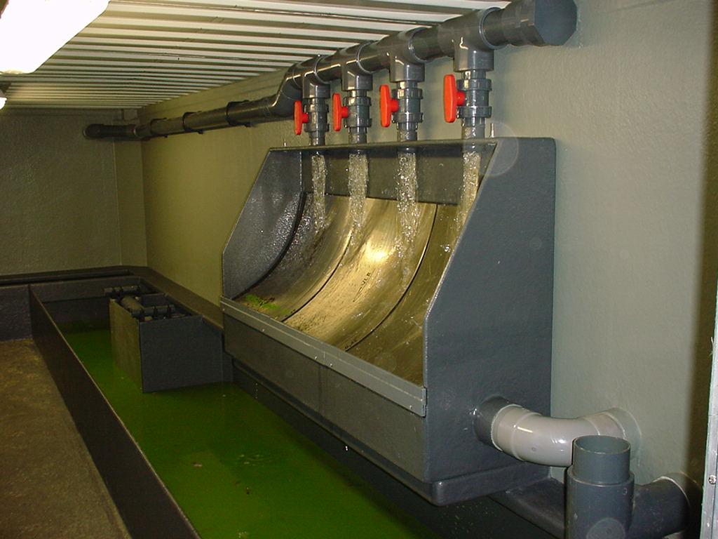 Filtercontainer 1 voorzien van zeefbocht en bufferbak blauwalg